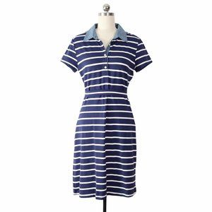 j. mclaughlin navy and white stripe shirt dress S